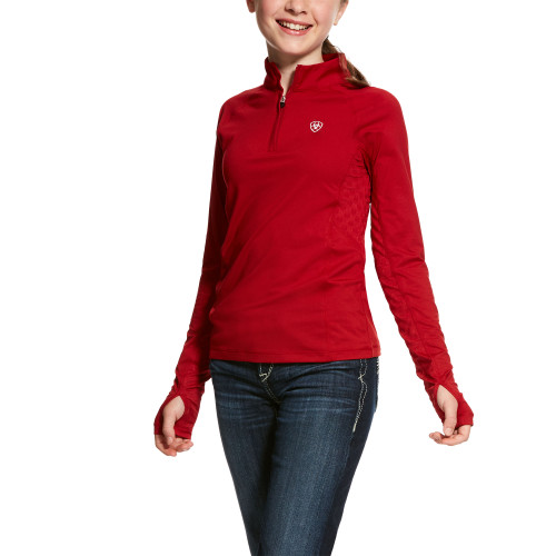 Red girl's Ariat 1/4 zip top
