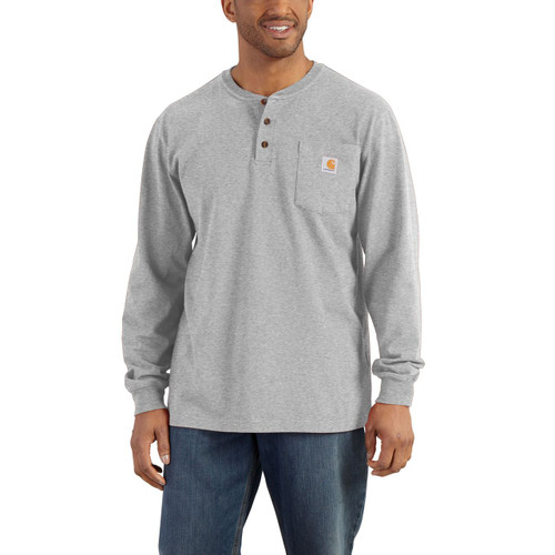 K128 - Heather Gray HGY - Carhartt Henley LS tshirt