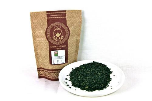 70g paket med ekologisk grön gunpowder pepparmintste.