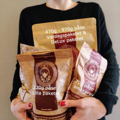 Här kan du se storlekarna på våra tepaket.