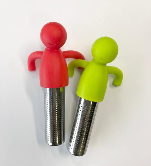 Tesil gubbe, av grön eller röd silikon med rostfri behållare