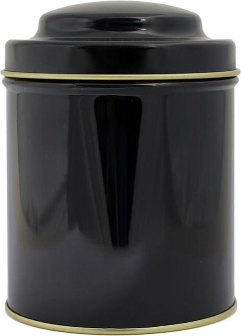 teburk - plåtburk - rund med lock i svart