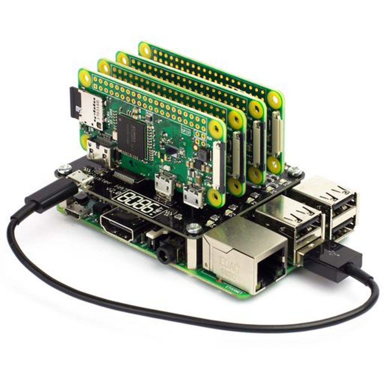 Cluster HAT Kit (includes 4 x Raspberry Pi Zero W)