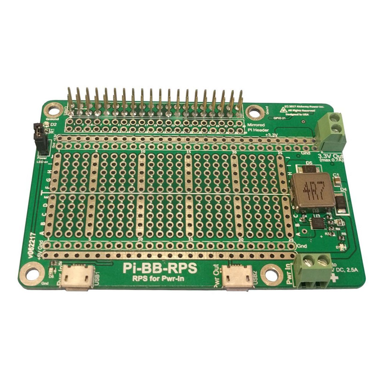 Pi-BB-RPS, Bread Board With Redundant Power for Pi
