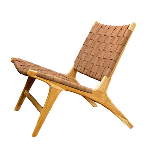 BORO CHAIR- Walnut Leather  & Unfinished Teak