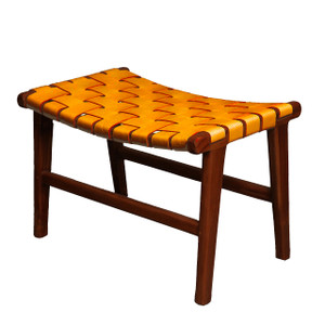 ADAMS STOOL- Tobacco Leather & Natural Teak