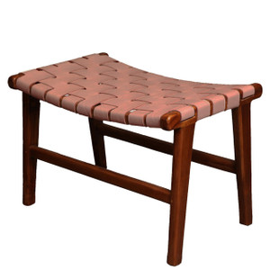 ADAMS STOOL- Vintage Leather & Natural Teak