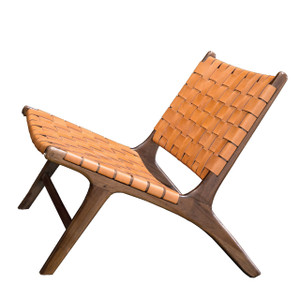BORO CHAIR - Tobacco Leather & Honey Teak