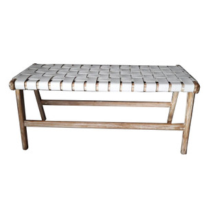 TAYLOR BENCH  White Leather & White Wash Teak