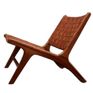 BORO CHAIR - Vintage leather & Honey teak