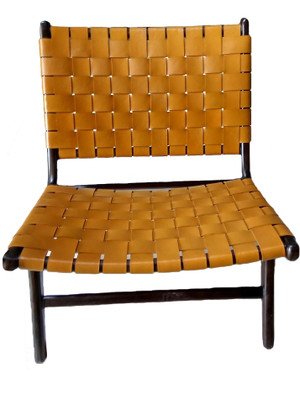 BORO CHAIR MUSTARD LEATHER & DARK BROWN TEAK