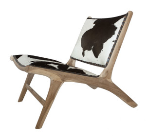 MONROE LOUNGE CHAIR - White & Brown Cowhide with Unfinished Teak