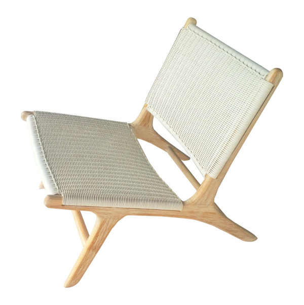 MADISON LOUNGE CHAIR - Artificial White Rattan & Teak