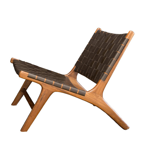 BORO CHAIR- Dark Brown Leather & Natural Teak