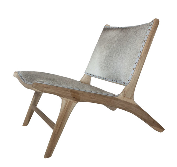 BD-MON-SPU- MONROE LOUNGE CHAIR - Salt & Pepper Cowhide with Unfinished Teak