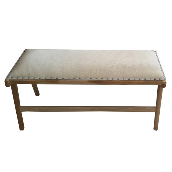 BD-TAY-WHU - TAYLOR BENCH - White Cowhide & Unfinished Teak