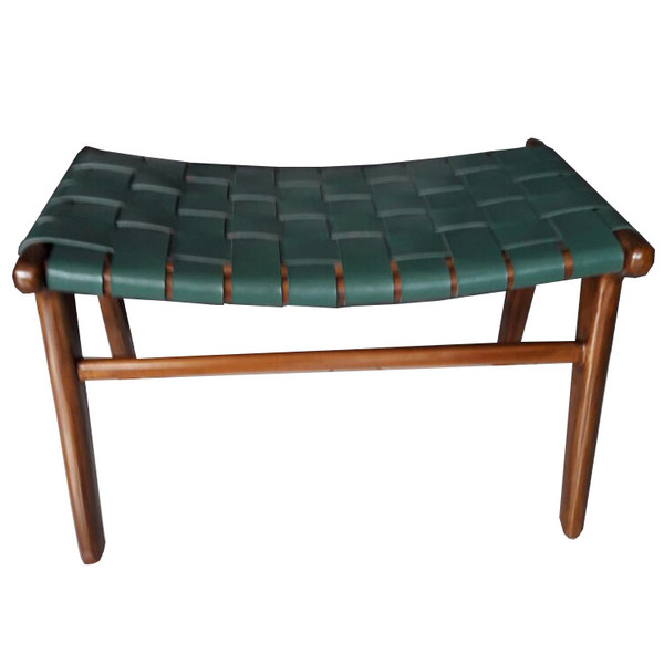 ADAMS STOOL  Green Leather & Honey teak