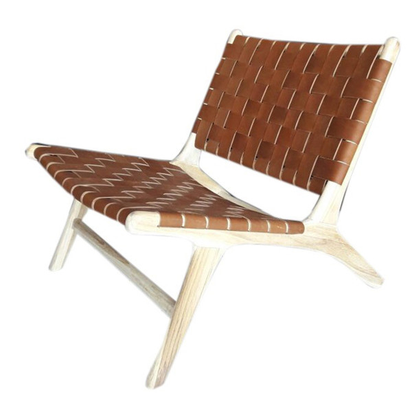 BORO CHAIR - Vintage Leather & Unfinished teak
