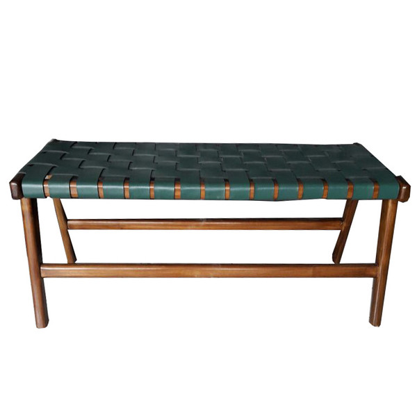 Taylor Bench  Green Leather & Honey teak