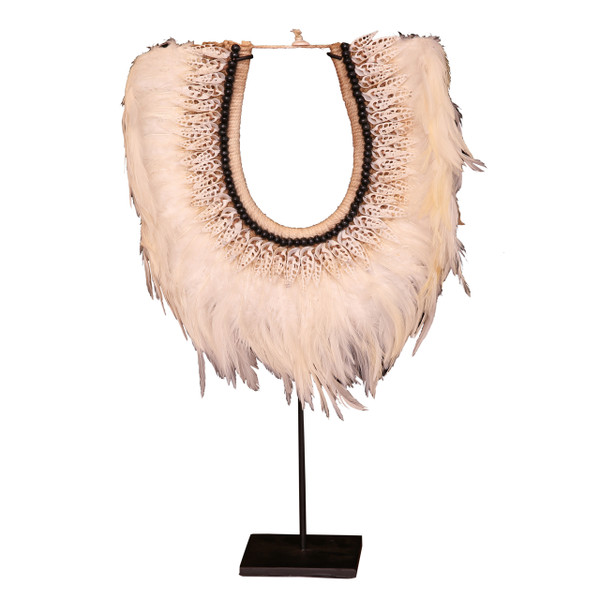 NECKLACE FEATHER ON STAND WHITE