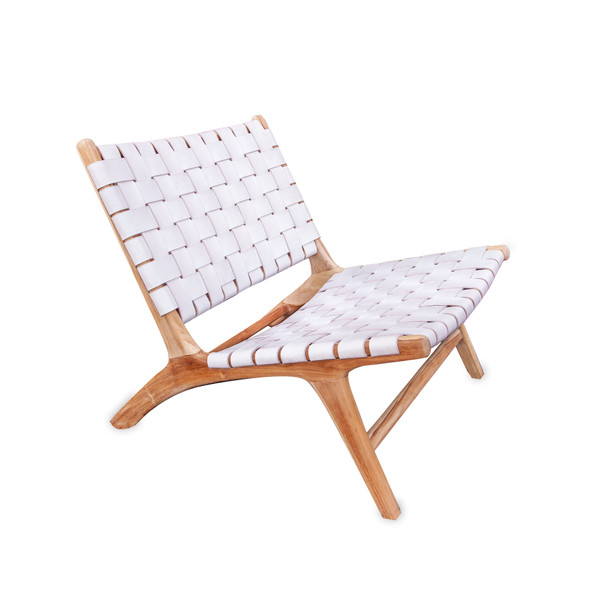 BORO CHAIR - White Leather & Unfinished Teak