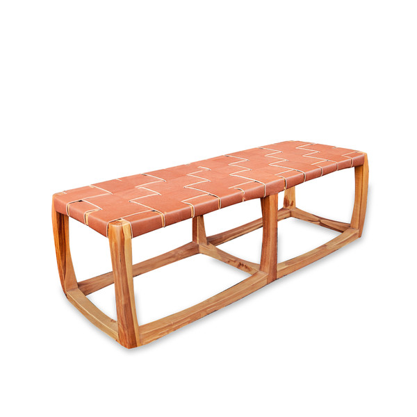 CUBE BENCH Cinnamon Leather & Natural Teak