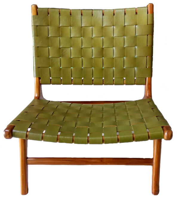 BORO CHAIR OLIVE LEATHER & NATURAL TEAK