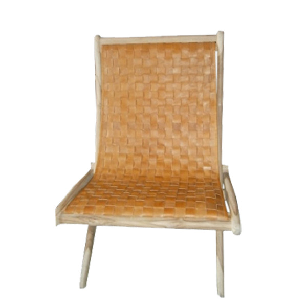 BRADFORD FOLDING CHAIR - Natural Leather & Natural Teak