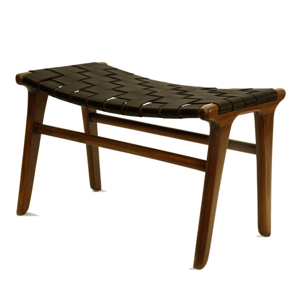 BD-ADA-DBN - ADAMS STOOL - Dark Brown Leather & Natural  Teak