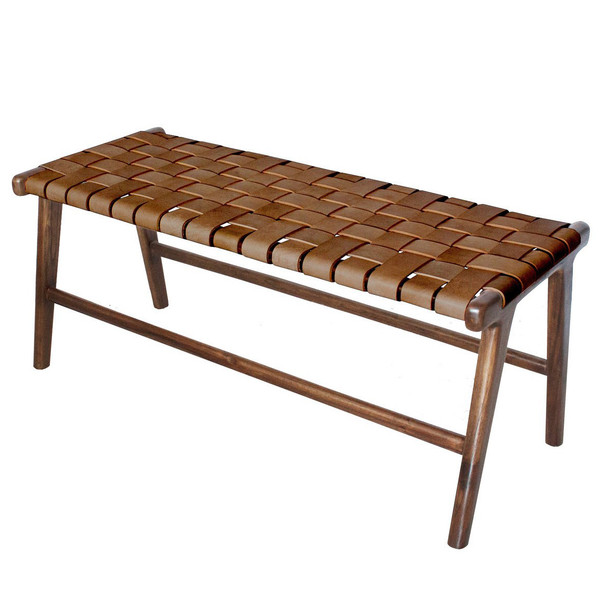 BD-TAY-VIN - TAYLOR BENCH - Vintage Leather & Natural Teak