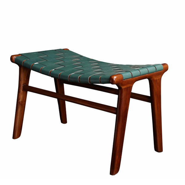 BD-ADA-GRH - ADAMS STOOL Green Leather & Medium teak