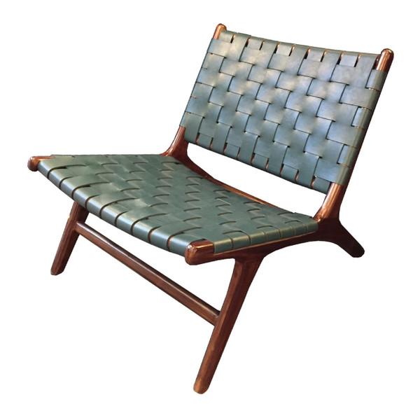 BD-BOR-GRH - BORO CHAIR - Green Leather & Medium teak