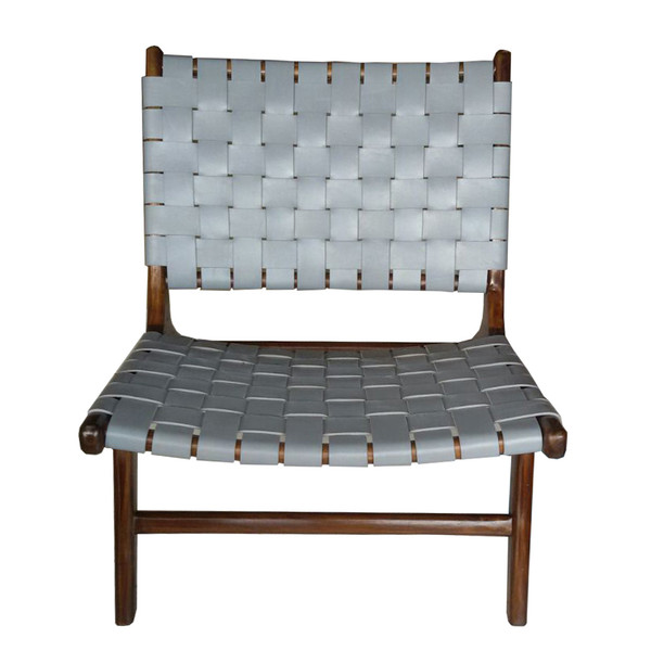 BD-BOR-GRM - BORO CHAIR - Grey Leather & Medium teak