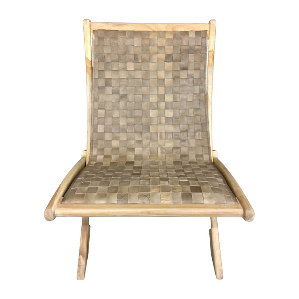 BD-BRA-WAU - BRADFORD FOLDING CHAIR -Walnut Leather & Unfinished Teak