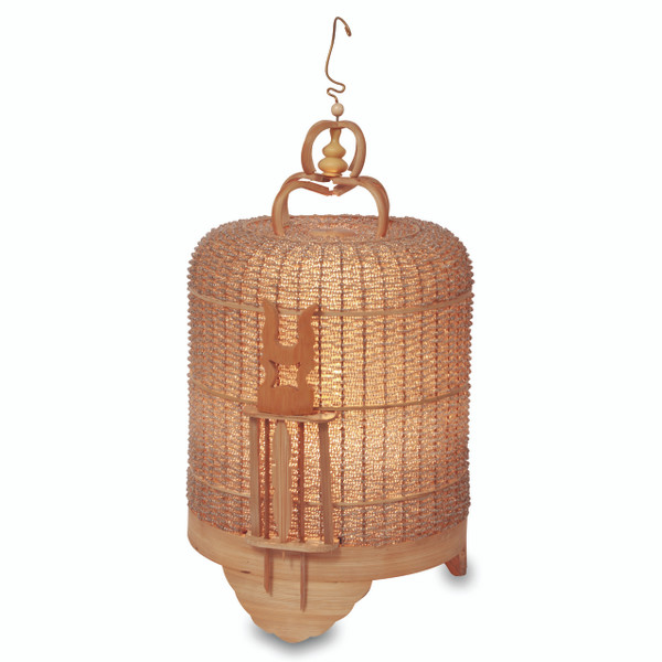 BIRD CAGE BEADED LAMP - GOLD