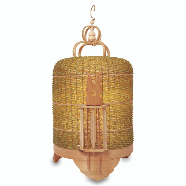 BIRD CAGE BEADED LAMP - GREEN