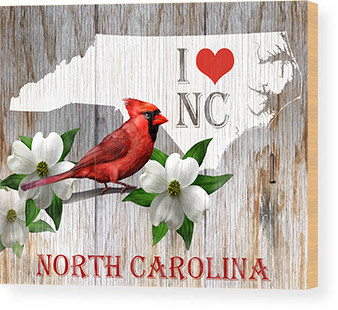 "I Love North Carolina - 8""x10"" Wood Panel"