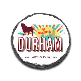 "Retro Durham 4"" Round Slate Coaster"