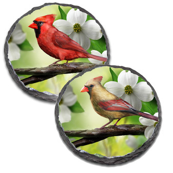 "4"" Round Slate Coaster with Male and Female Cardinals"