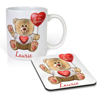 Personalized Cute Bear Mug and Coaster Set
