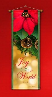 Joy to the World with Poinsettia Banner