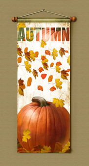 Autumn with Falling Leaves, and Pumpkin Banner