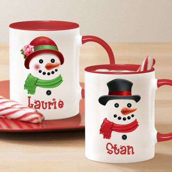 Snow Man and Snow Woman Personalized Mug with Name