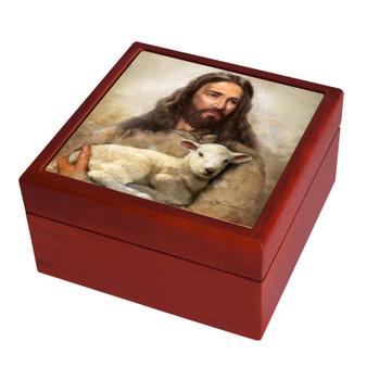 Jesus holding Lost Lamb Keepsake Box