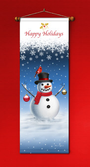 Snowman with Top Hat and Scarf Banner