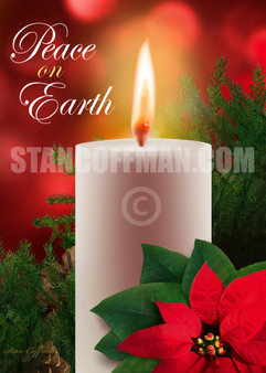 Peace on Earth with White Candle and Poinsettia (Digital Download)