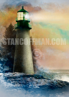Lighthouse on Rocky Coast with Stormy Skies (Digital Download)