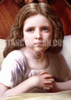 Young Girl saying Prayers at Bedtime (Digital Download)