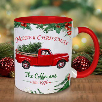 Personalized Red Truck and Santa 15oz. Mug