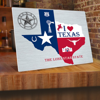 Map of Texas Aluminum Print
